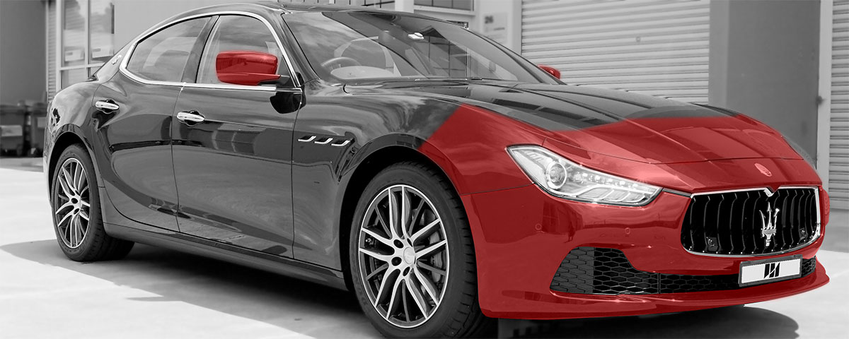 Area in red shows where is covered on his Black Maserati Ghibli