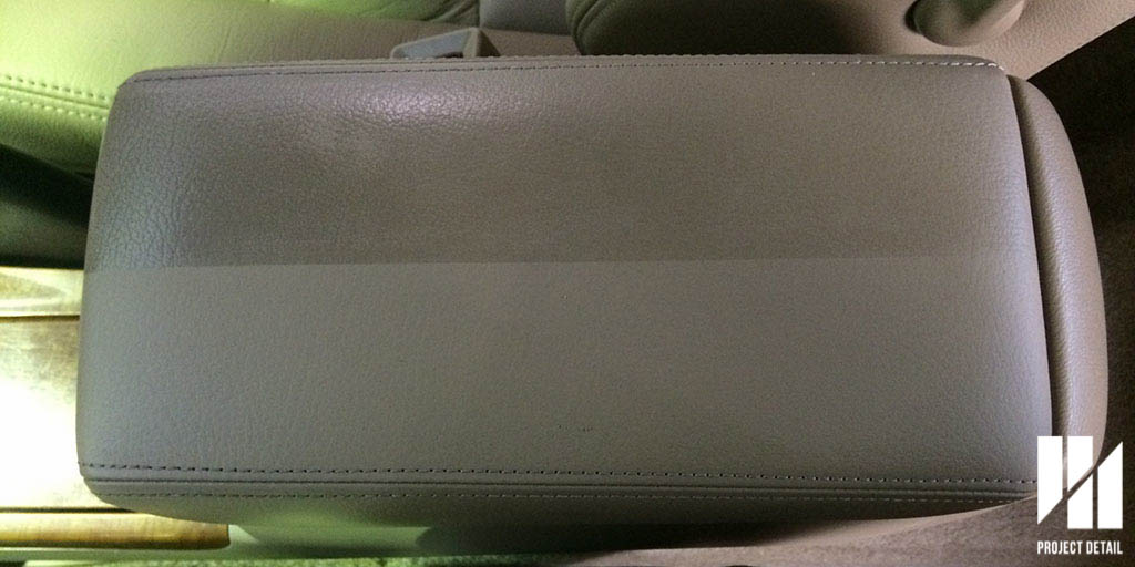 Notice the sheen and slickness of the 'dirty' part of the leather armrest.