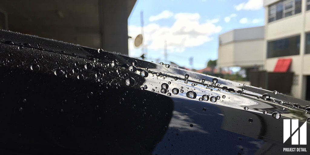 CS2 Titanium Glass Coating -  Notice the intense water beading during a regular wash service.