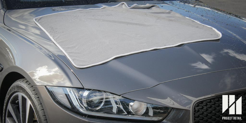 Drying, as part of our 21-Stage Wash and Decontamination on a brand new XE Jaguar