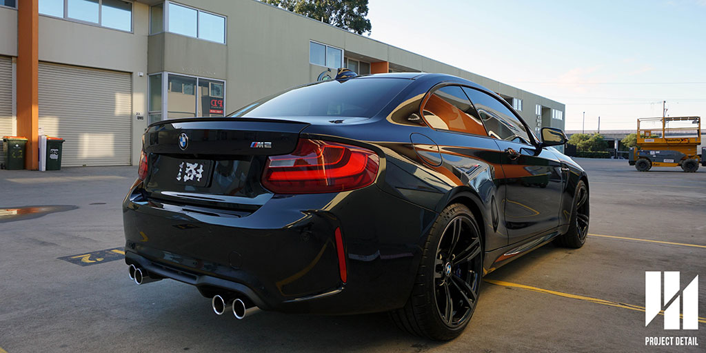 Striking BMW M2 in Sapphire Black finished with CS2 Titanium ceramic quartz coating.