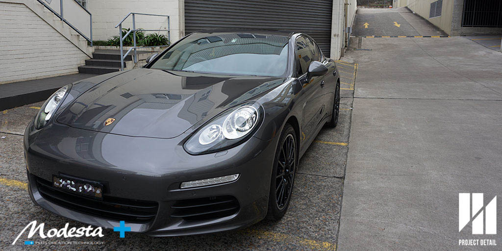 2016 Porsche Panamera protected with Modesta BC-05 Advanced Water Repellant Coating