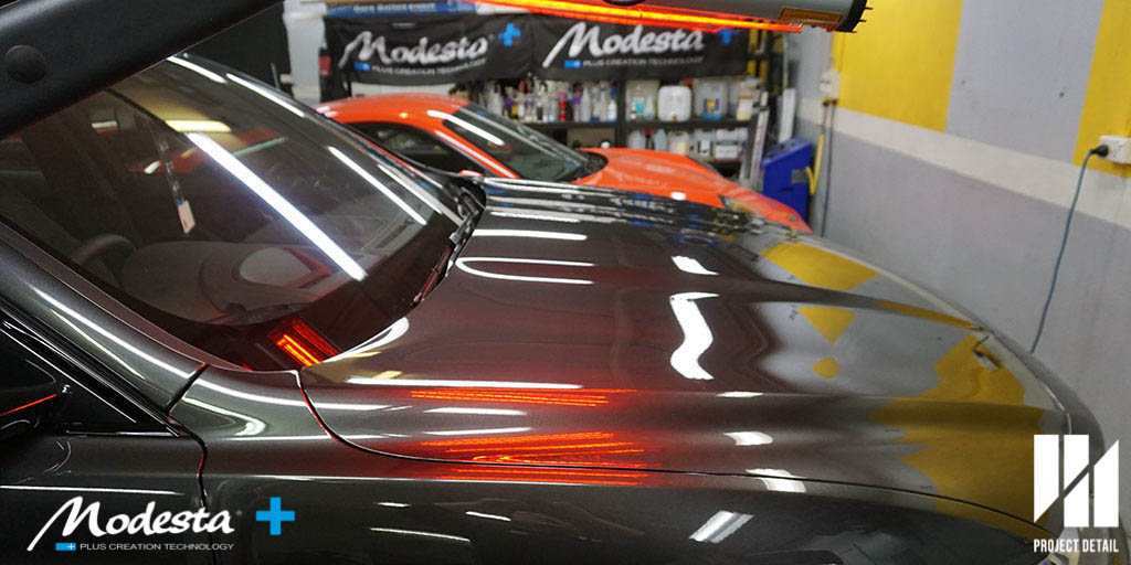 The Jaguar F Pace's coating undergoes Infrared curing which is critical to Modesta's system.