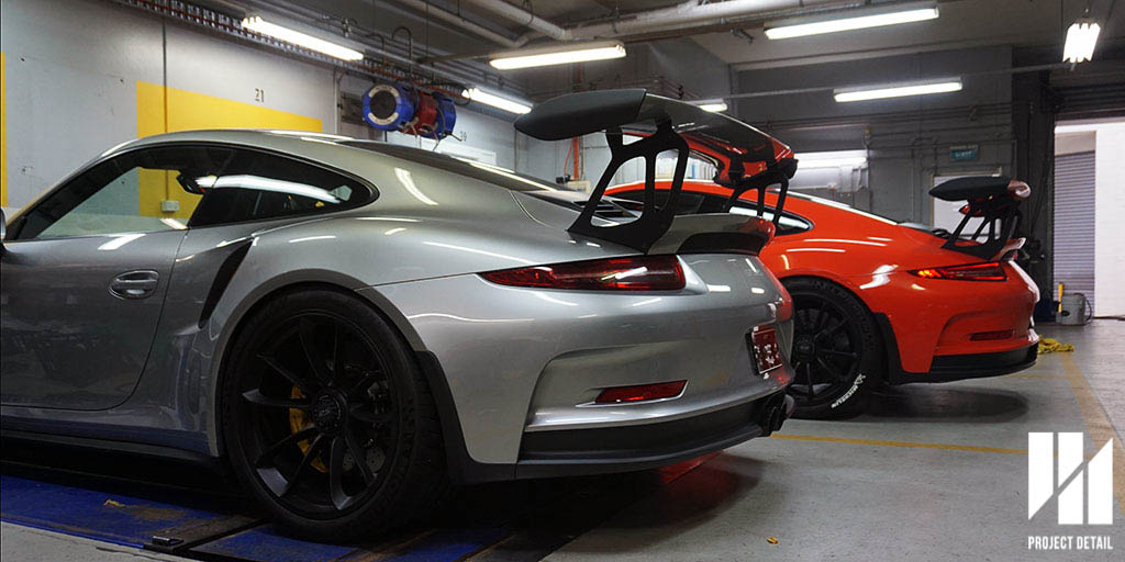 Two Porsche 991.1 GT3 RS fully wrapped in PPF and protected by Project Detail