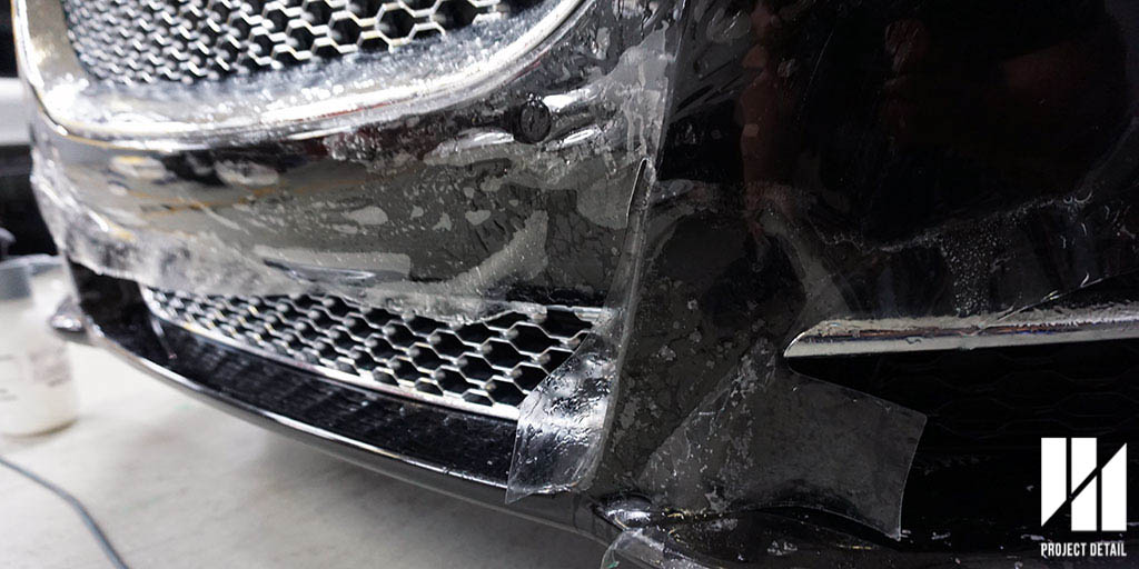The same Jaguar XJ utilises the pre-cut templates for its Front Bumper in order to get a tailored finish for its more complicated design.