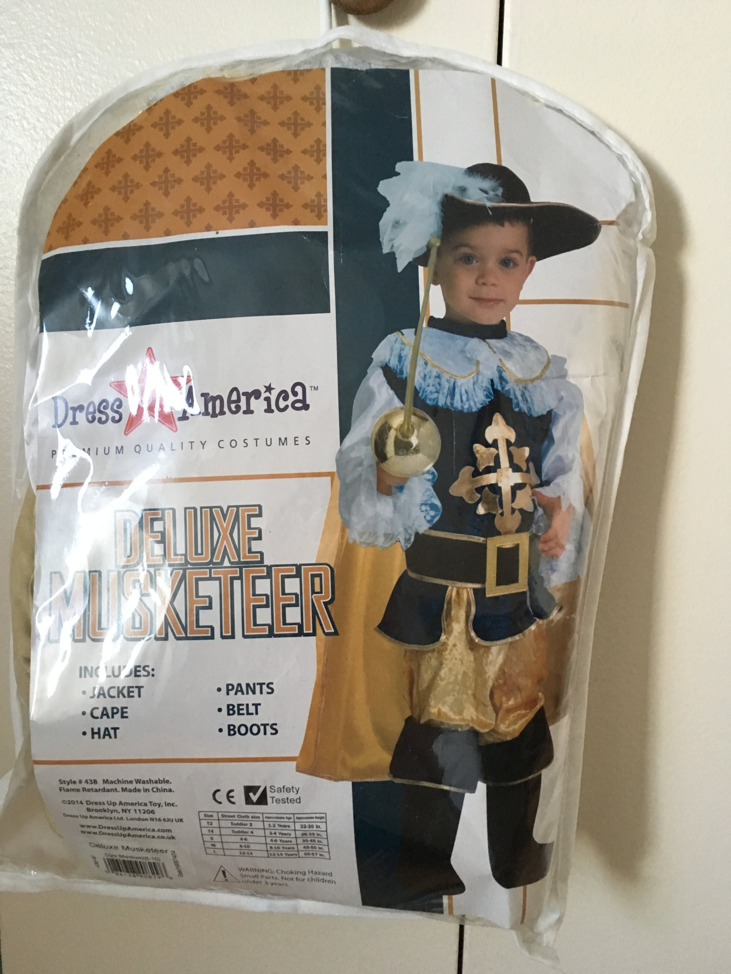 SOLD                       Musketeer Costume 4-6 yo                                          $15