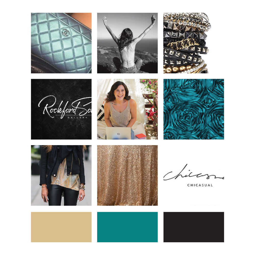 Moodboard for Caitlin McCarthy brand identity, featuring teal, metallics and a rocker-chic vibe