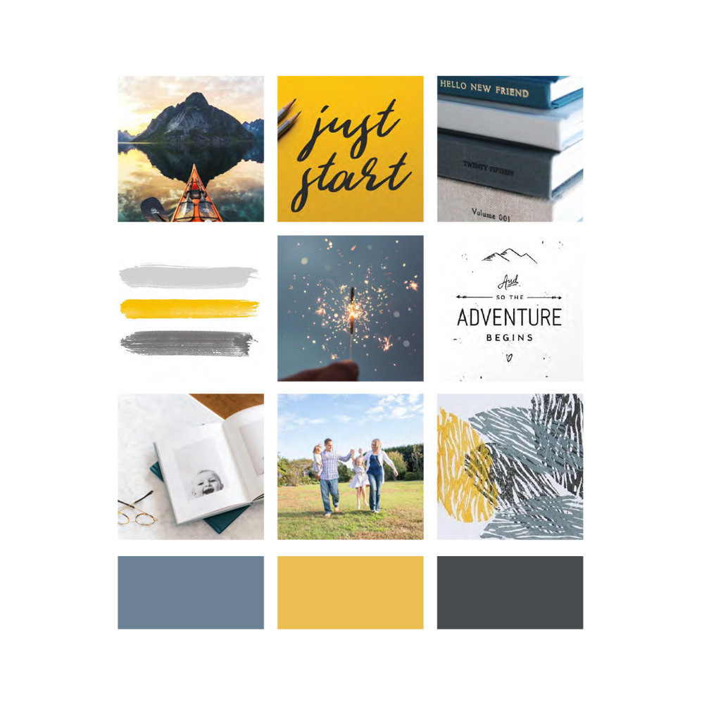 Inspiration and moodboard for Liz Goodman Photography, an adventurous, playful and authentic brand | Alexa B. Creative & Design