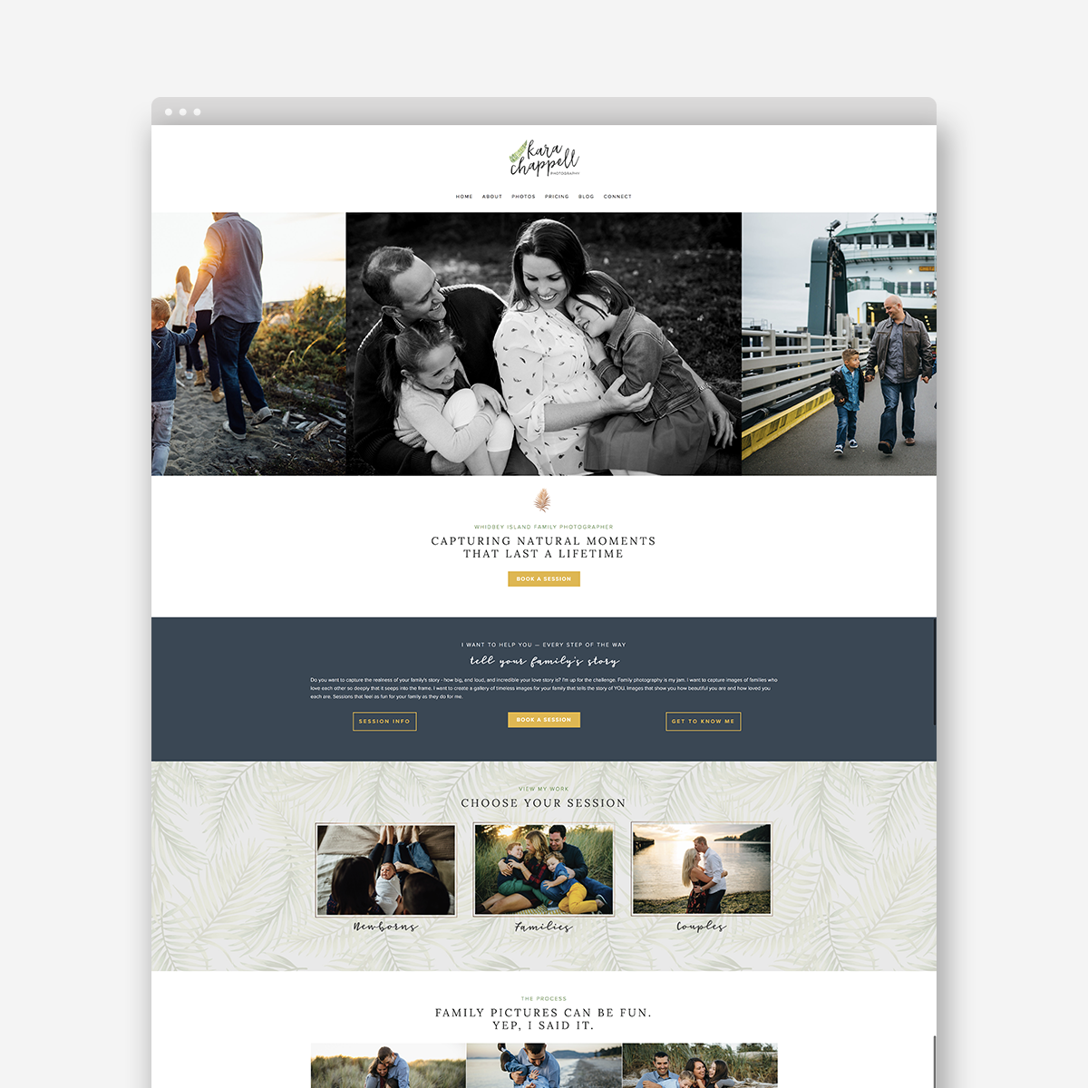 Website design for Kara Chappell Photography, a Whidbey Island based family photographer | Alexa B. Creative & Design