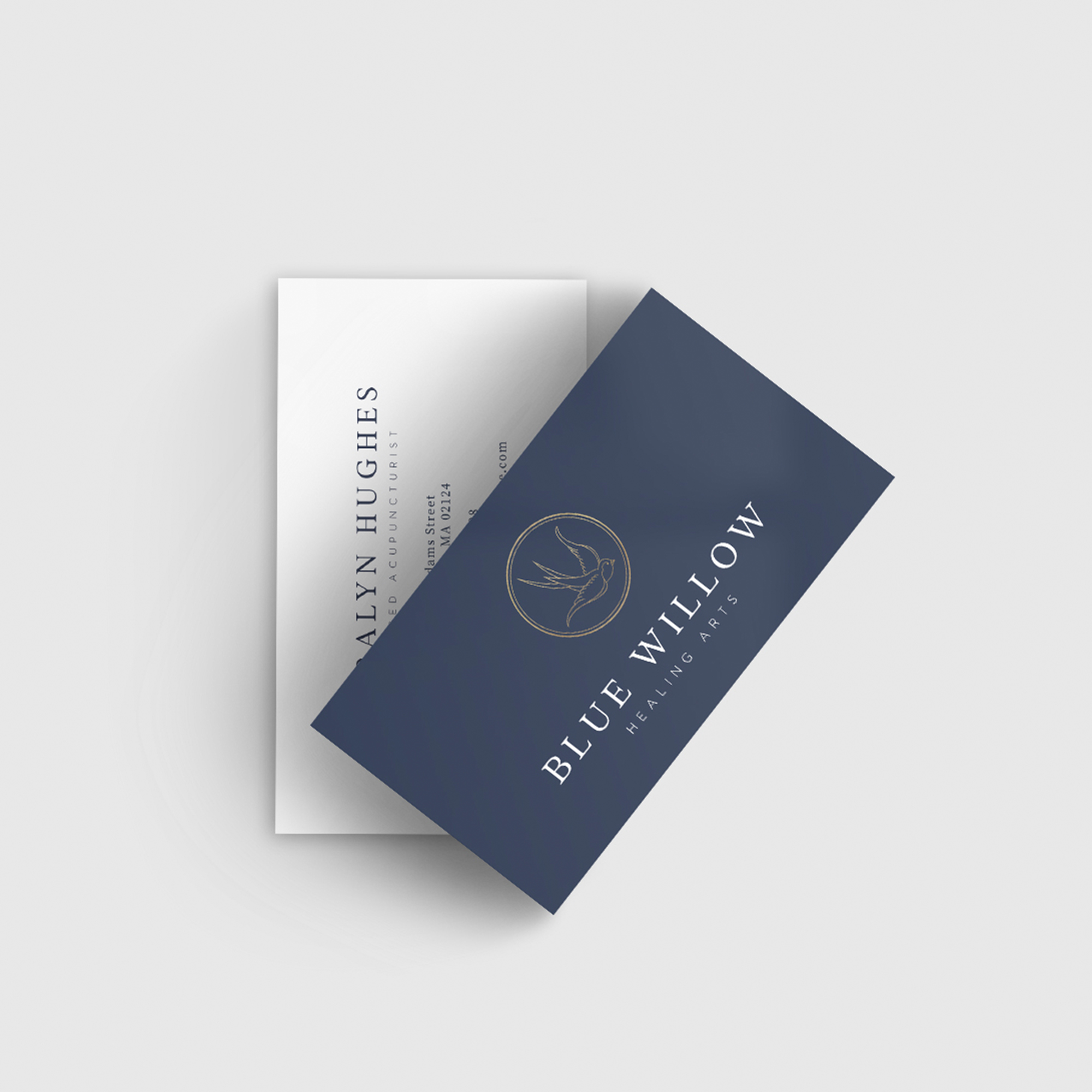 Business card design for Blue Willow Healing Arts, a Massachusetts-based acupuncture and wellness practice, by Alexa B. Creative & Design