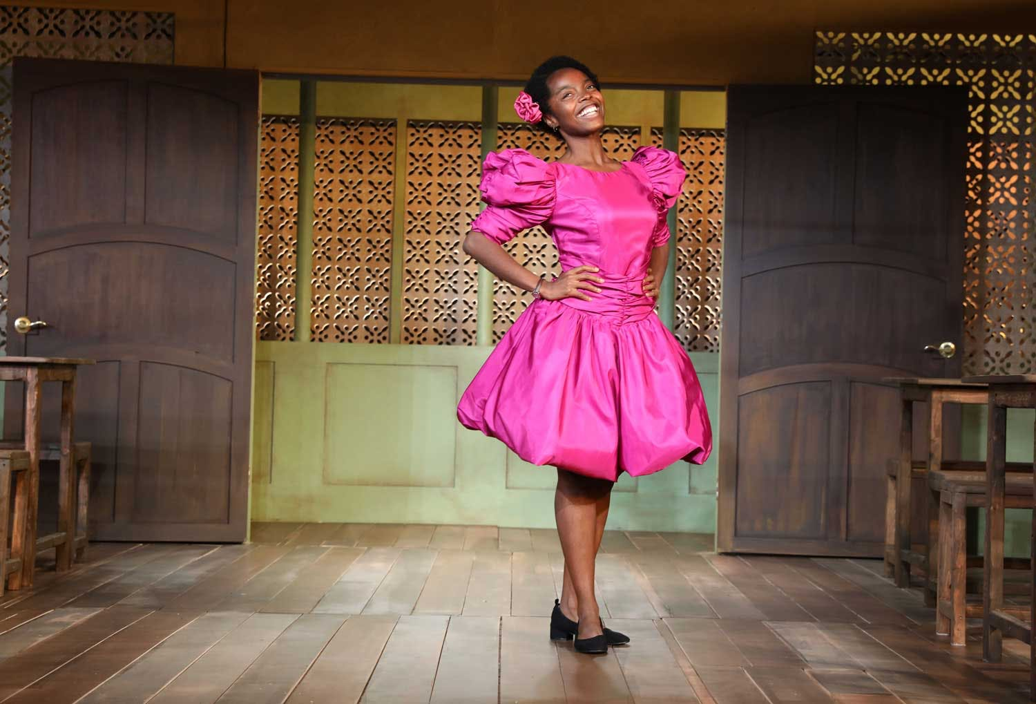 "MaameYaa Boafo in ""School Girls, or the African Mean Girls Play."" (Photographed by Joan Marcus)"