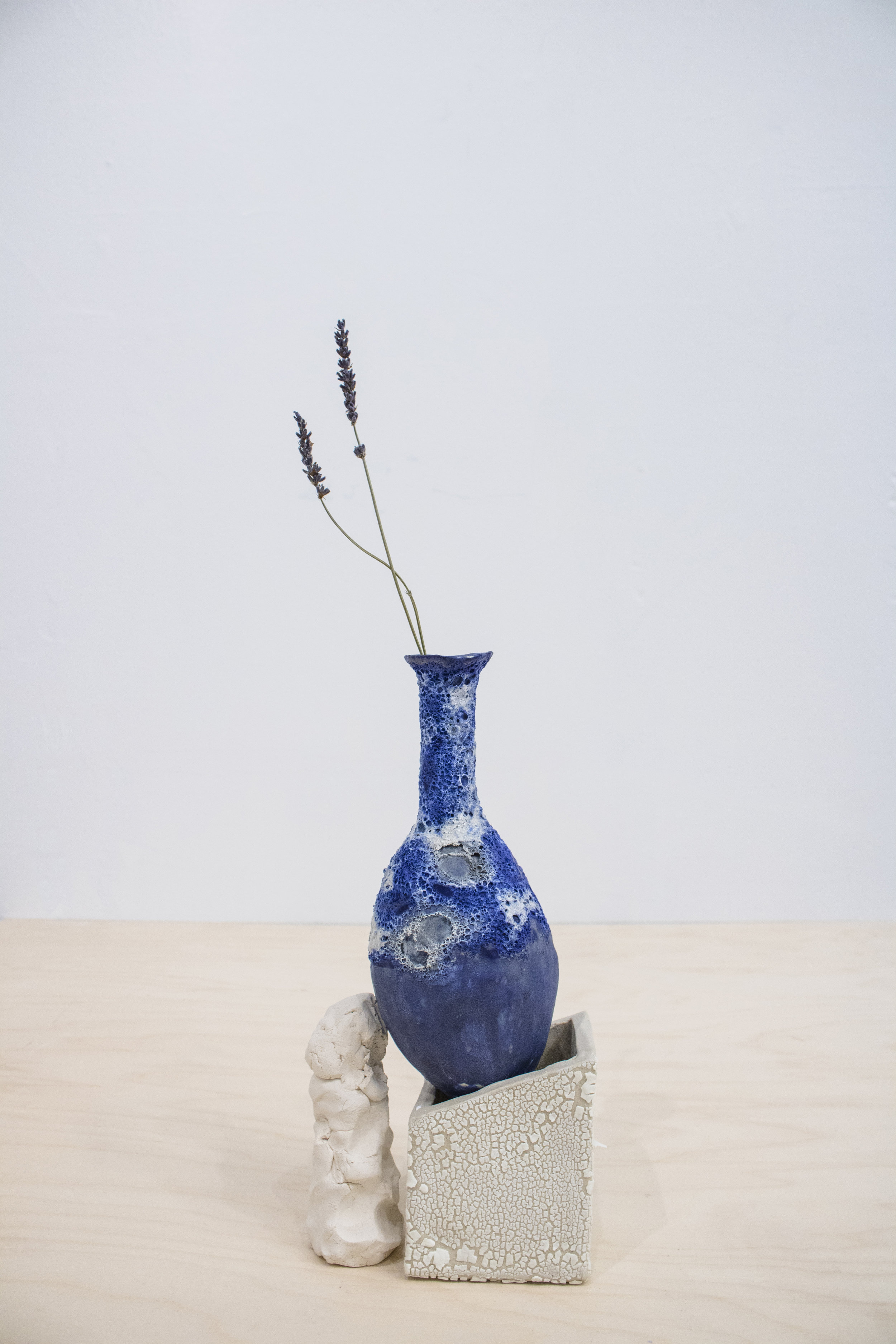 Bule Holder II, 2017, fired clay, glazed stoneware, lavendar