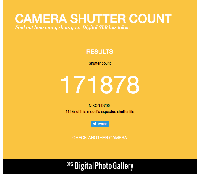 As you can see Im 15% over the expected life of the camera's shutter
