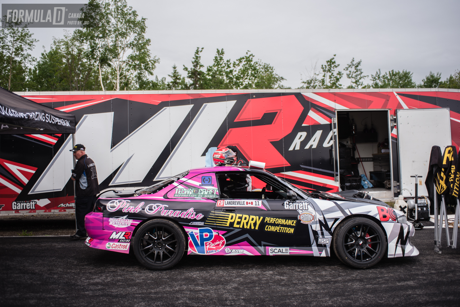For this weekend Marc was using his back up car which is a V8 powered S14. His 2JZ car and the one he won his Formula D Pro 2 Championship with was not ready in time for this event as it was getting battle ready for the upcoming Formula D USA event at Autodrome St-Eustache.