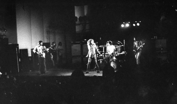 """The Who play before 32,123 at the Mississippi River Music Festival in Edwardsville in Sept. 1971. The Post-Dispatch concert reviewer noted: """"The Who, in the context of rock music, gave a fine show - playing almost to the point of exhaustion, rising higher and higher and louder and louder in their music and showmanship. The Who were good people."""" W. Thomas Stewart/Post-Dispatch"""