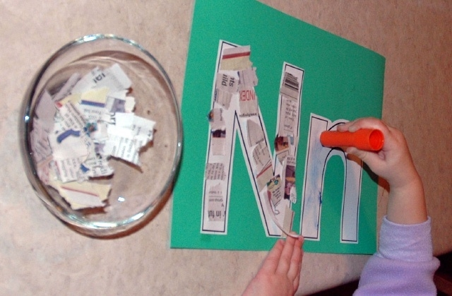 Newspaper Nn Letter Art