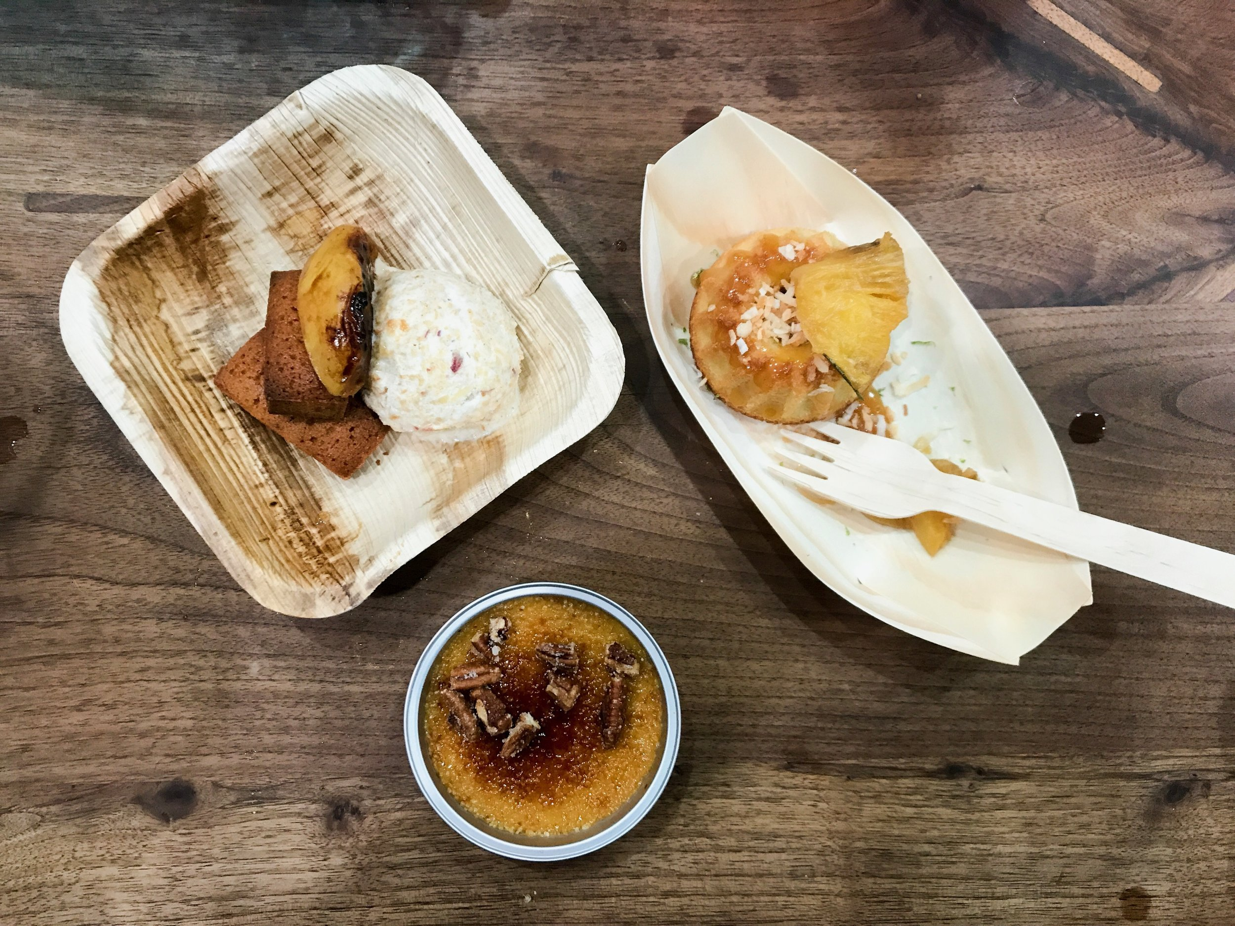 Peach Finacier + Sweet Potato Creme Brulee + Coconut Sticky Cake w. Braised Pineapples