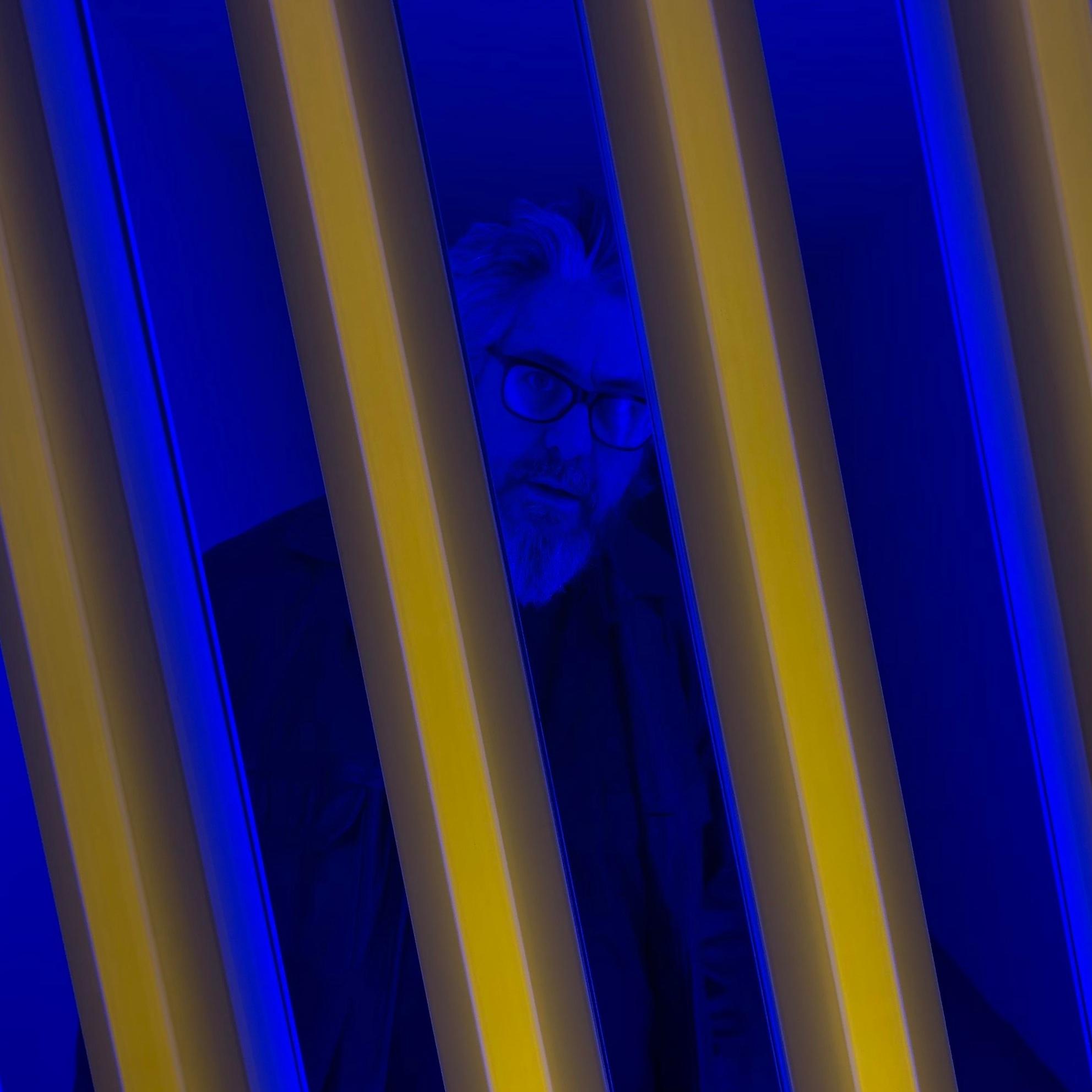 Peering through the fluorescent lights at Dan Flavin's exhibit in Marfa, Texas
