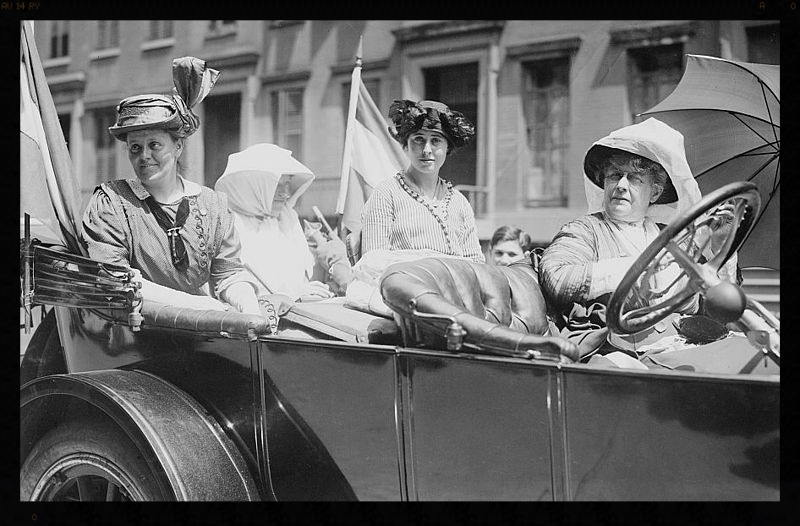 Women's rights activists Susan Walker Fitzgerald, Harriot Eaton Stanton Blatch, and Maggie Murphy accompanied by New York Herald reporter Emma Bugbee circa 1910-1913. One of Bugbee's early assignments was covering the weeks-long march of suffragists from New York City to Albany. Bugbee was one of the founders of the New York Newspaper Women's Club and president in 1926, 1927, 1928, and 1934. She was a charter member and kept in touch with the club after moving to Rhode Island in 1976, and until her death in 1981. (Photo: Bain News Service *Ed's note: the negative for this photograph would have been made of glass.)