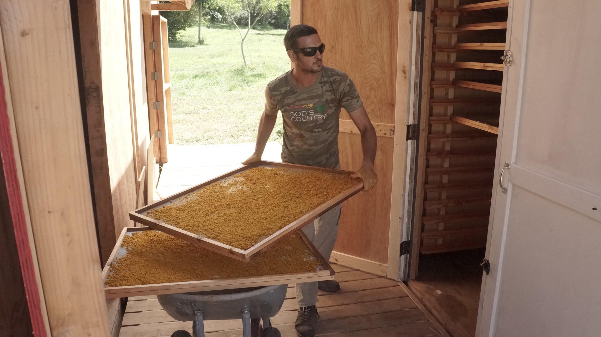 Aaron loading the solar dehydrator