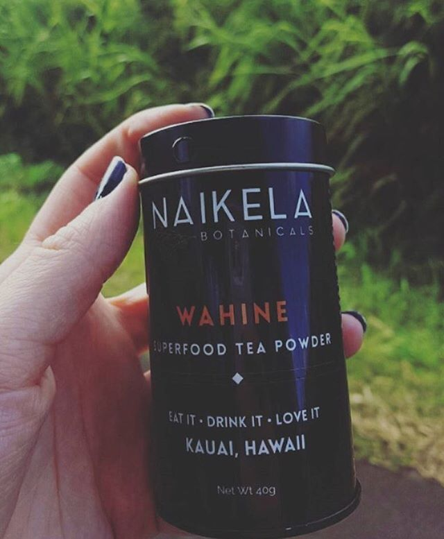 """Wahine is our deluxe female tea powder blend of unique island herbs + botanicals. This cacao peppermint goodness is designed to balance female hormones helping pms + stress, regulating menstrual cycles, alleviating menopausal symptoms, lowering sugar + cholesterol levels, balancing libido, increasing energy, boosting mood, brain clarity, mental alertness, circulation, supports optimal organ function, protects against DNA damage...promoting anti-aging + longevity!!! Basically it cleanses, detoxifies + heals all female concerns! Its incredible. This tea blend makes a delicious hot coco + iced mocha latte. We encourage this tea to be  used in your everyday """"on the go"""" however you see creative ... drizzle over granola, into smoothies, add to your office water or your coffee mug! You deserve the best... to feel good + supported all day long!  Repost @jordan_neil with her Wahine!  _______________________________________________#Naikelabotanicals #Superfoodtea #Tea #Kauai #Hawaii #Maui #Oahu #Bigisland #Farmgrown #hawaiian #MadeinHawaii #plantpower #Herbs #Botanicals #holistic #lifestyle #matcha #alkaline #female #womensfashion #womenshealth #wholefoods #plantbased #rawfoods #vegan #foodie #tealover #herbaltea"""