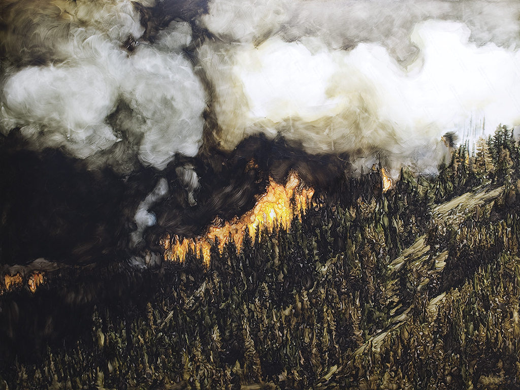 Evan Lee  Forest Fire, Brookmere, BC, after found BCFS Aerial Photograph, 2010, (2010) acrylic medium, ink jet print. Collection of the Vancouver Art Gallery.