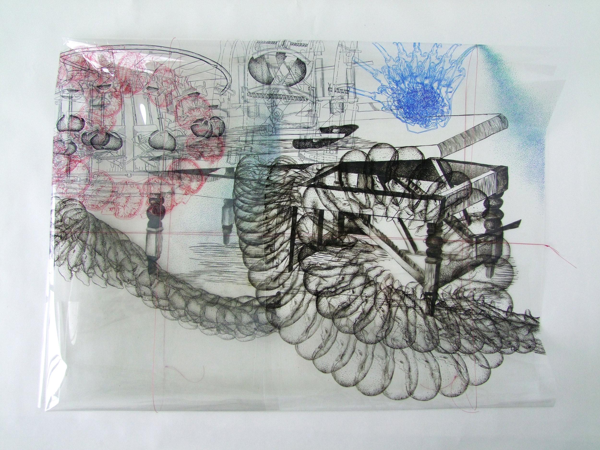 Egg Breaker , folded in 35x40 inch, permanent marker, Vitrail paint, fishing line and dust on duralar sheet, 2017