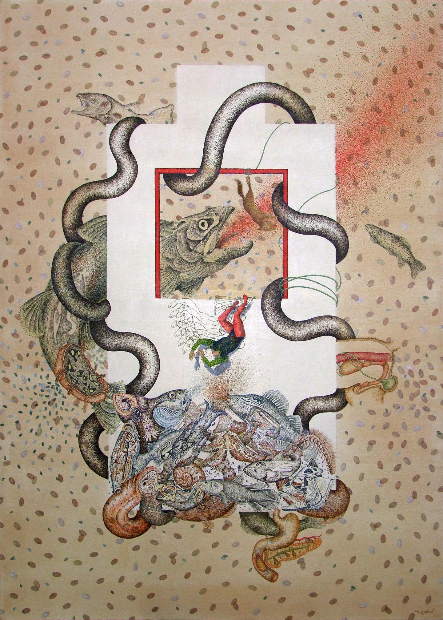 Medusa , 36x50 inch, acrylic and tea on canvas, 2014