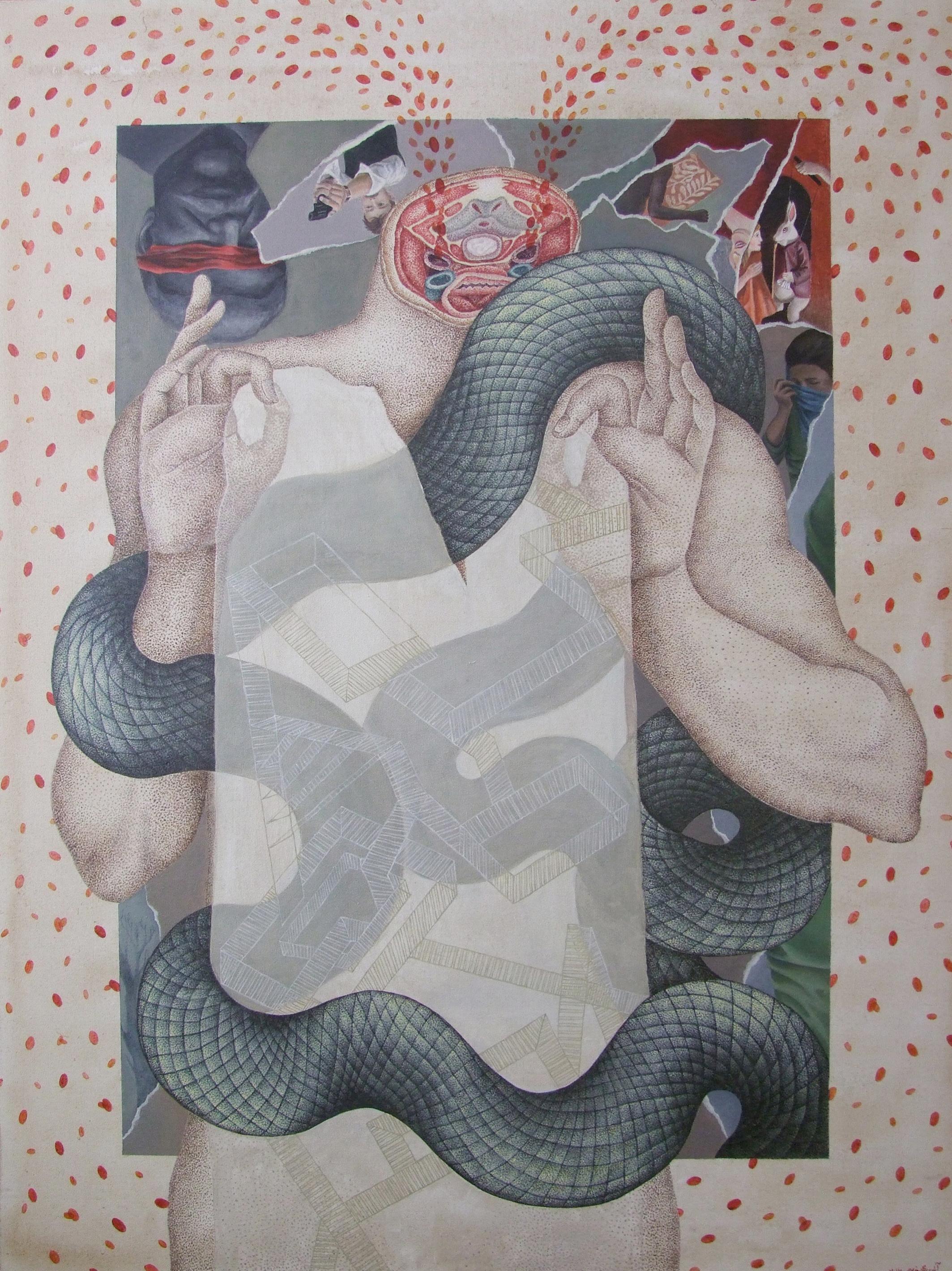 Wonderland , 30x40 inch, acrylic and tea on canvas, 2016