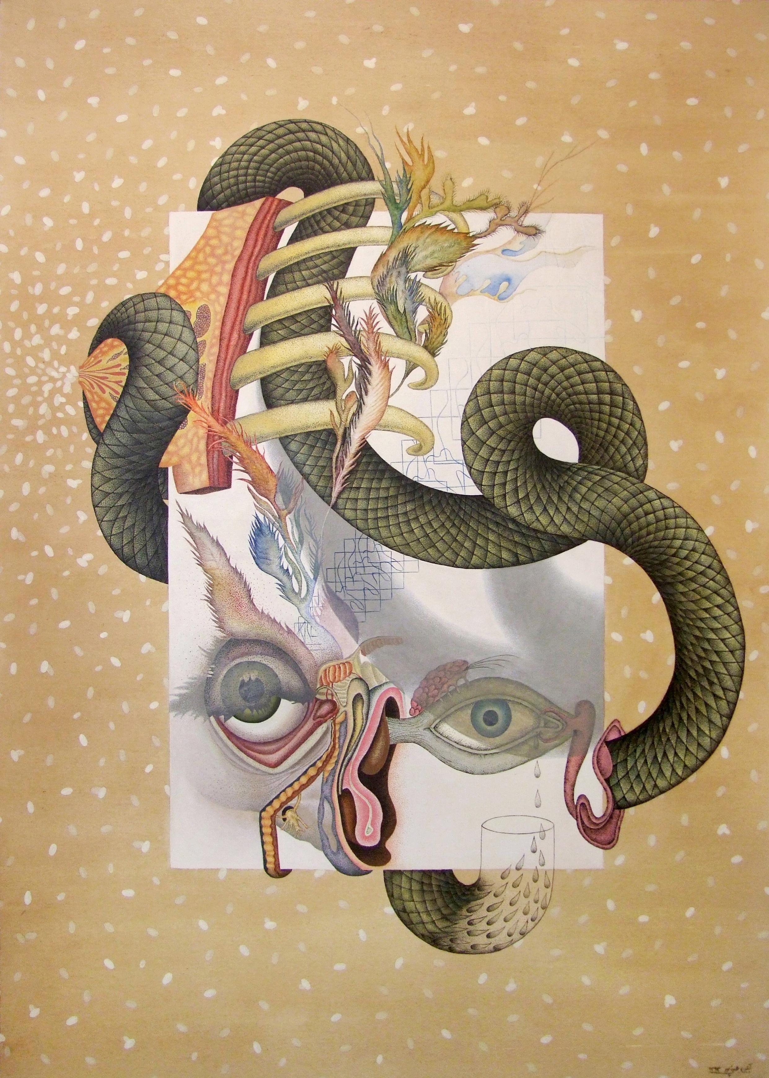 Sucking My Tears, 36x50 inch, acrylic, watercolour, and tea on canvas, 2014
