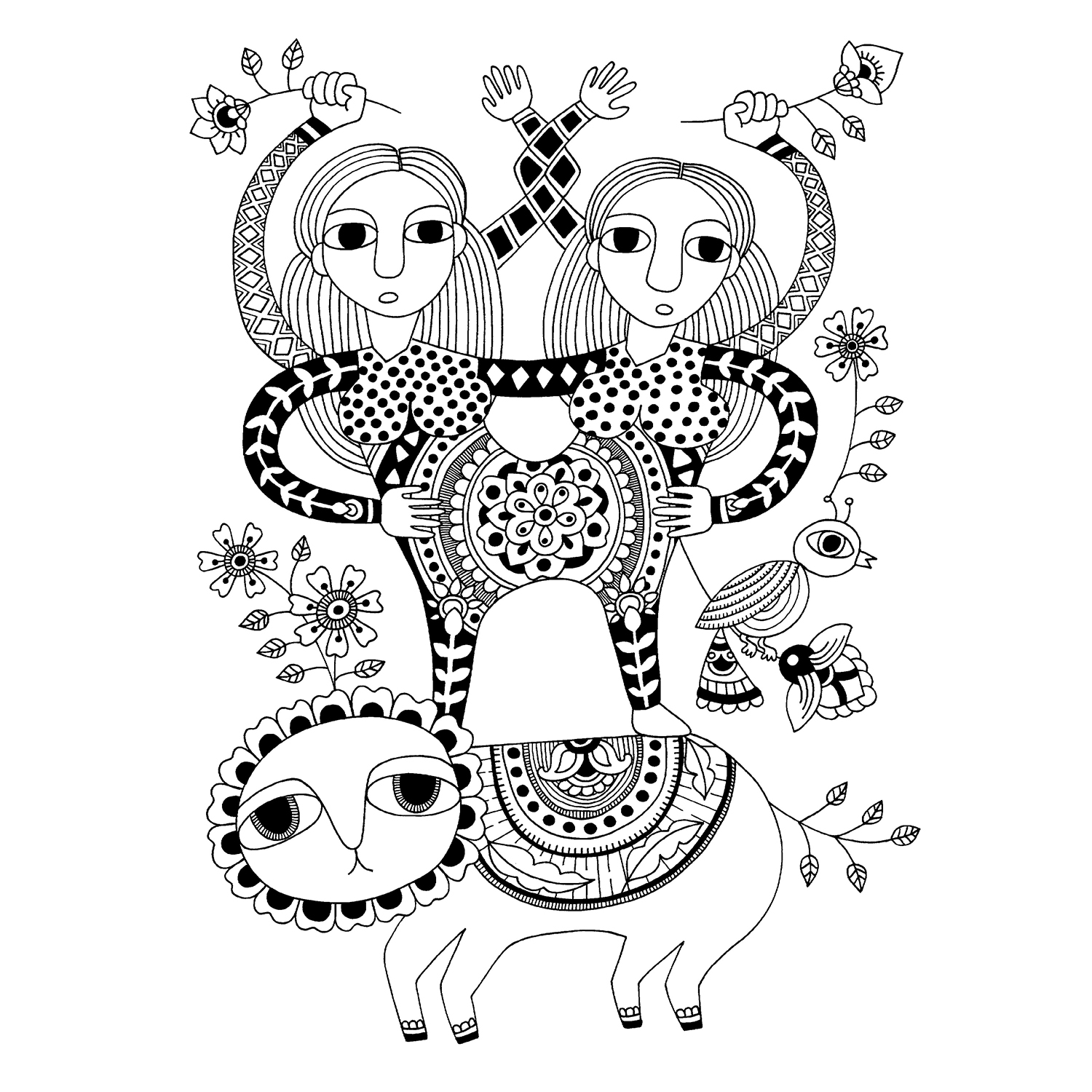 Artwork: Twins on a Lion  by Sandeep Johal (ink on paper)