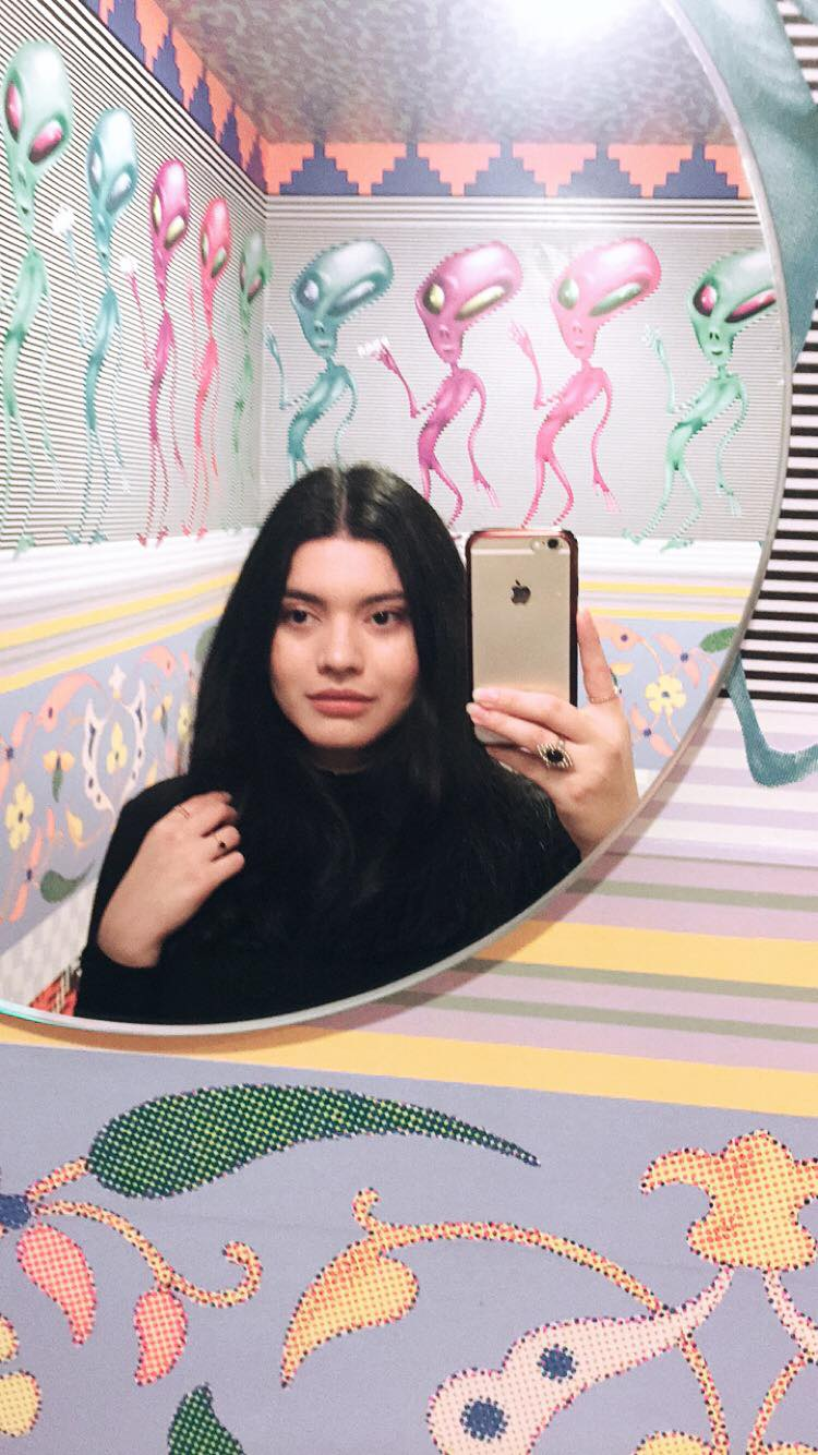 A selfie by the author, Fiorela Argueta, in the permanent installation in grunt gallery's washroom