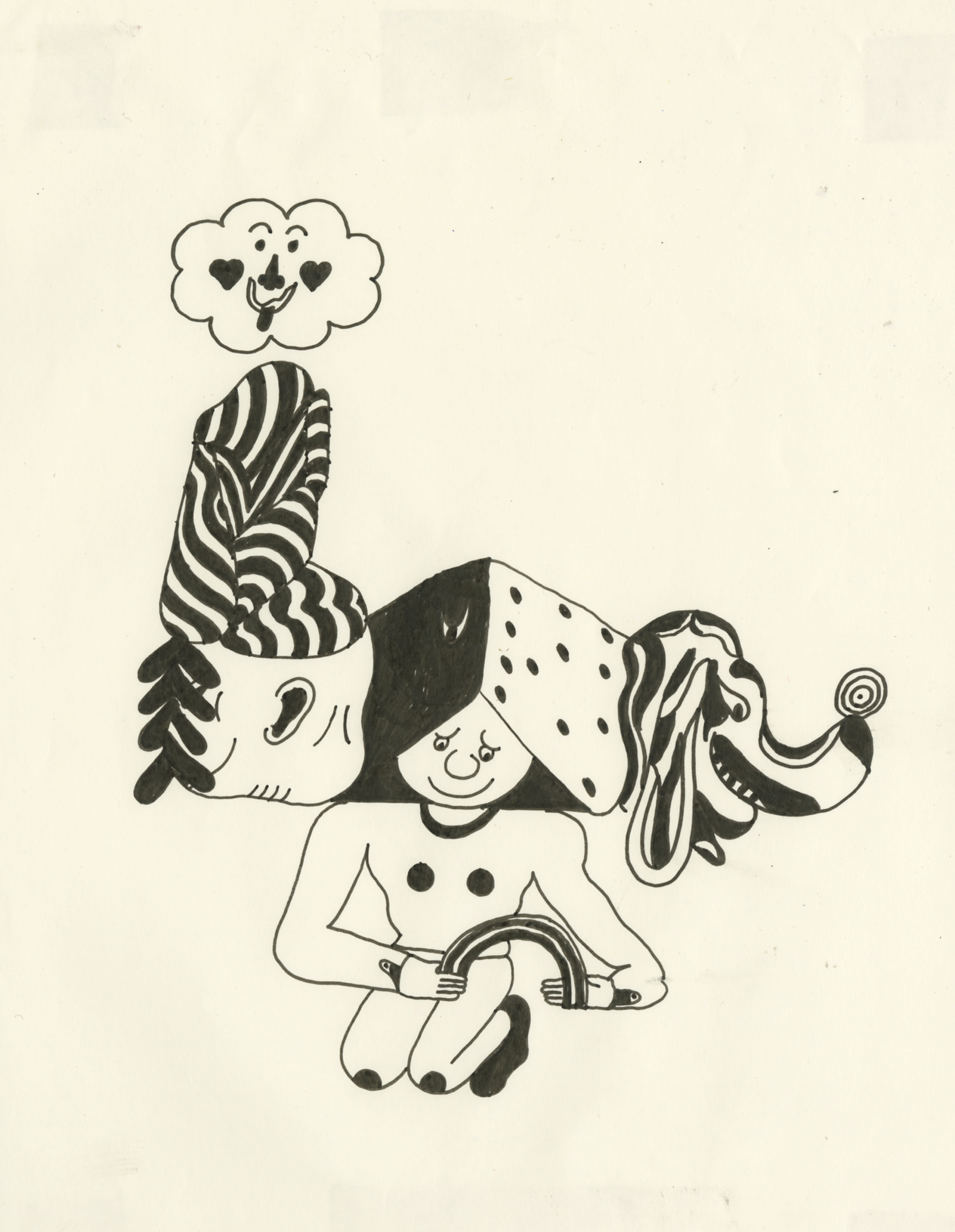 Rainbow Holder .Ink on paper, 2018.