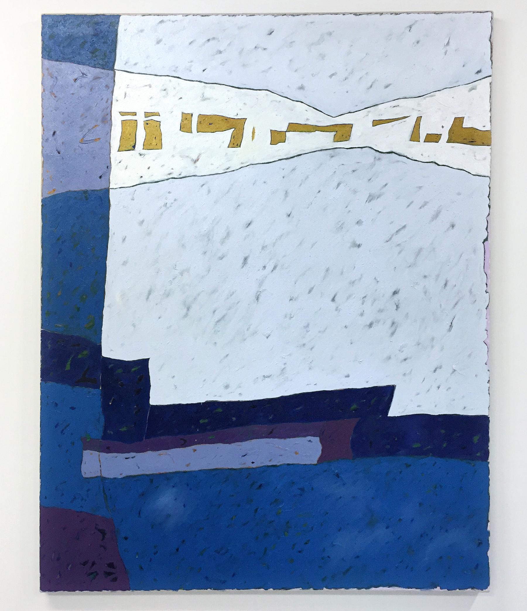 "Artwork: Les Ramsay,  Blue Fog Whistle , 2016 (oil and beach sand on linen, 62""x48"")"