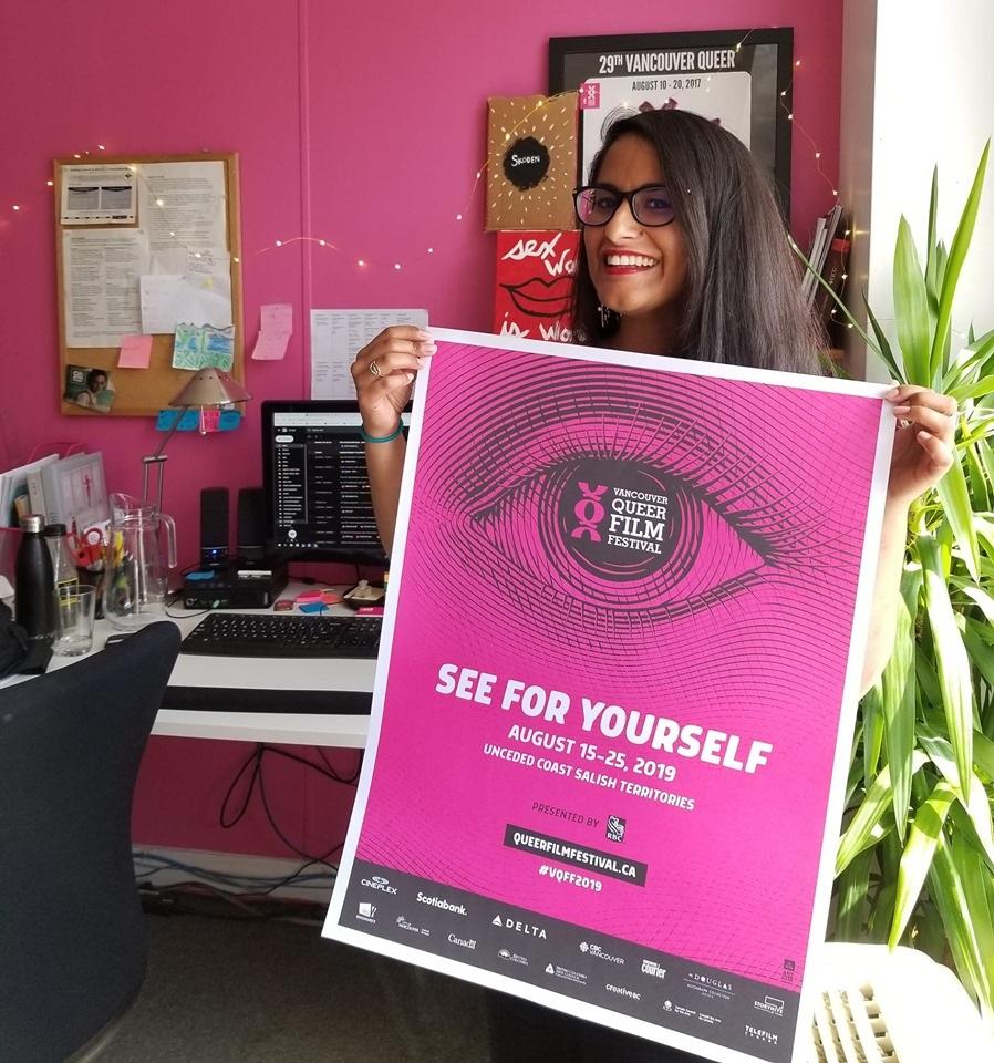 VQFF Artistic Director Anoushka Ratnarajah holds the festival's 31st poster design