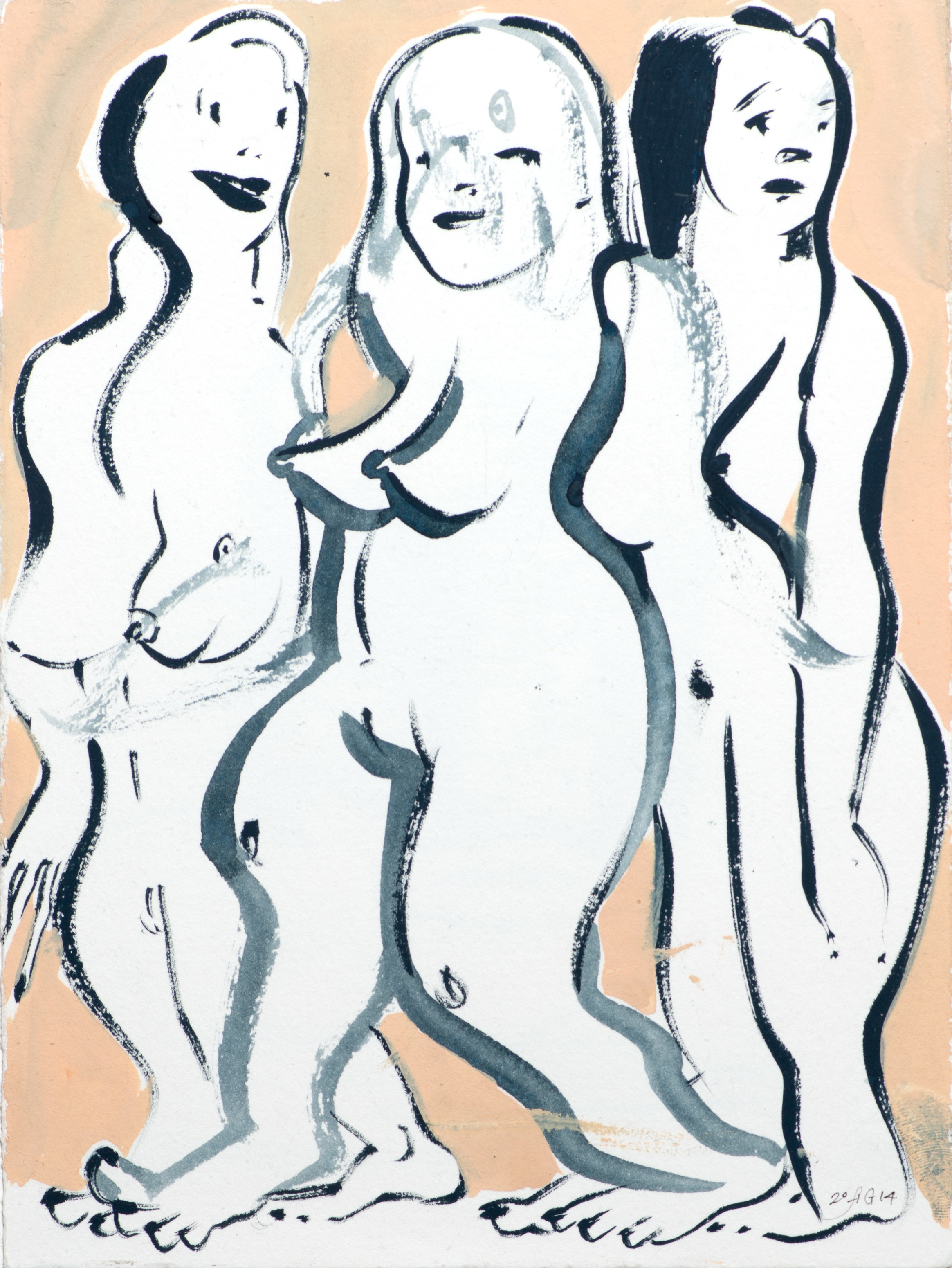 Modern Ladies , 2014 Gouache and ink on paper 11 x 9 inches