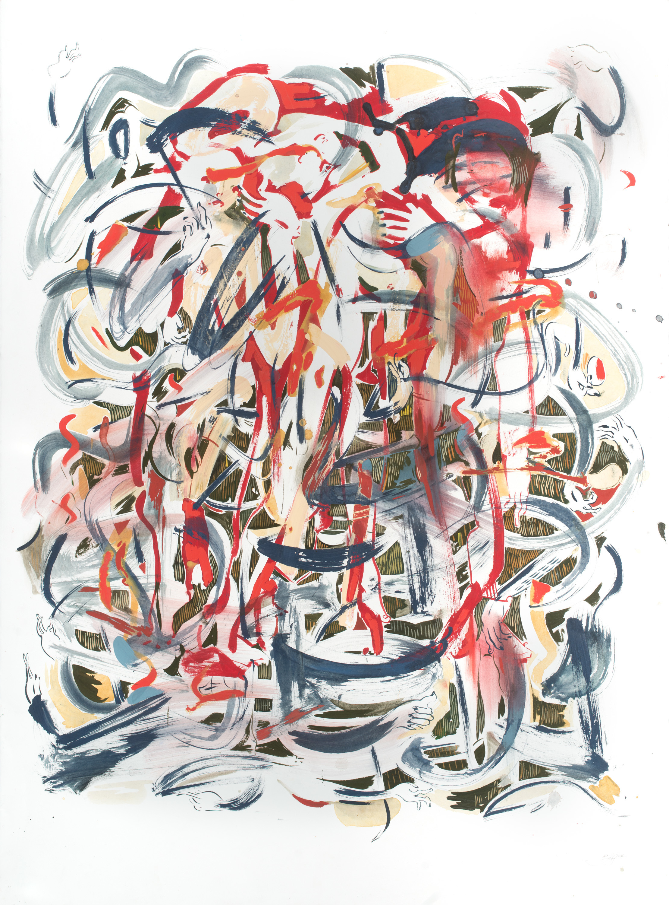 Seige , 2014 Gouache and ink on paper 30 x 22 inches