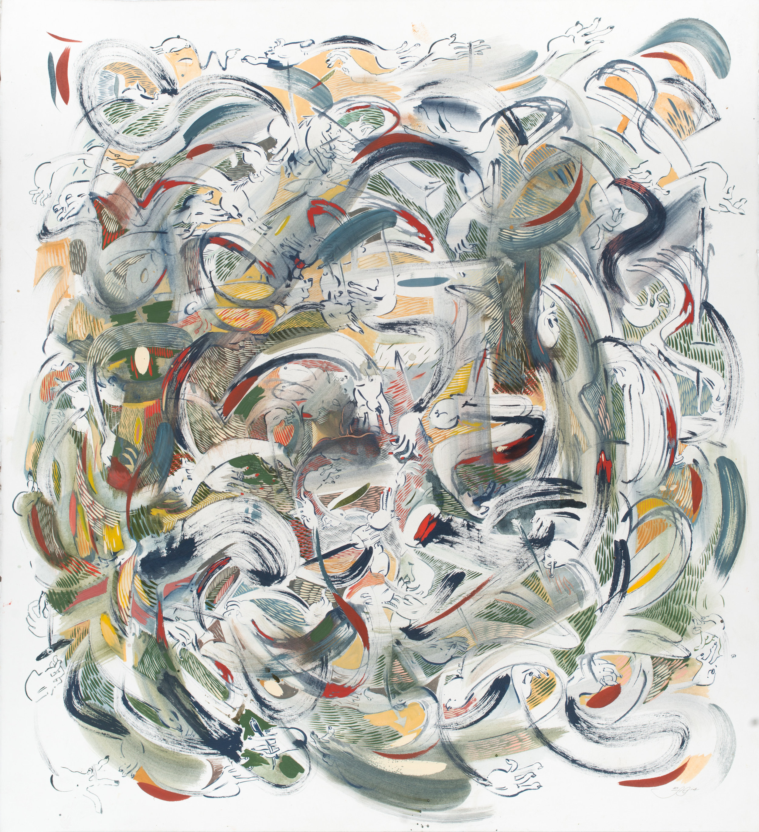 Undertoe , 2014 Gouache and ink on paper 25 1/4 x 27 1/4 inches