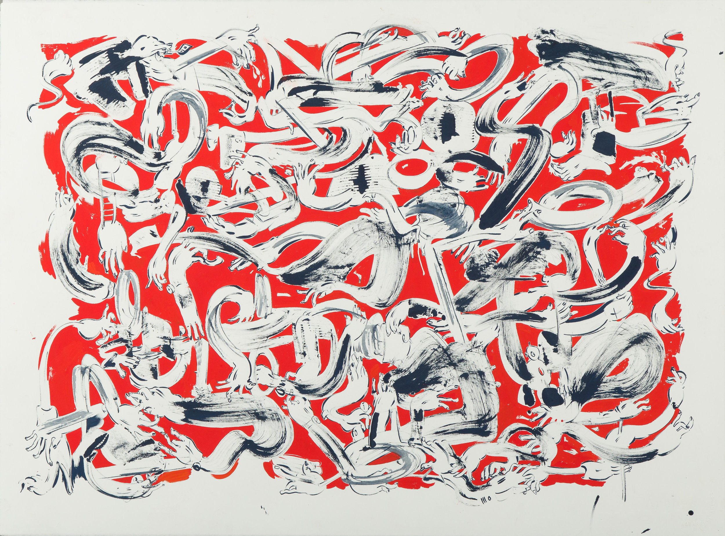 Handy (Barber) , 2014 Gouache and ink on paper 22 x 30 inches