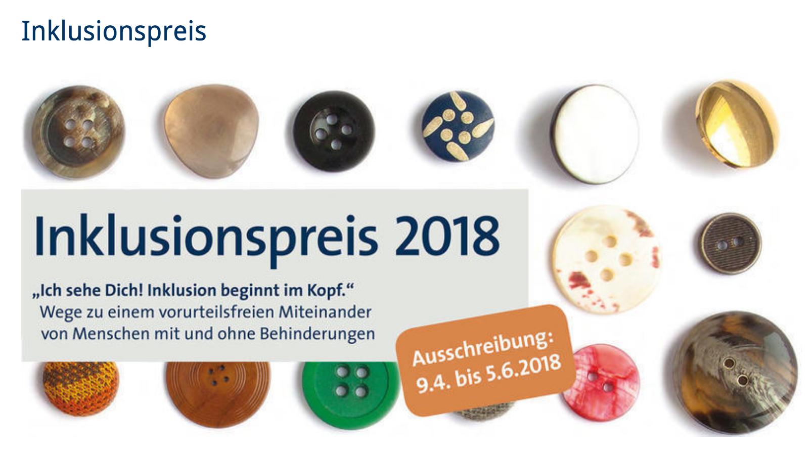 Inklusionspreis 2018 dees Bezirks Oberbayern