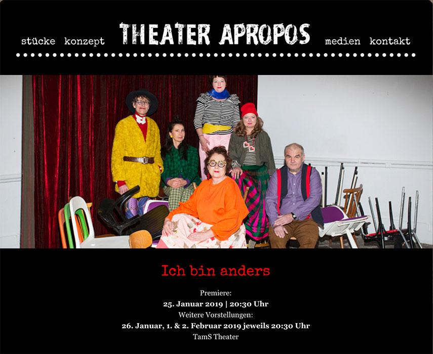"""Titelbild der aktuellen Produktion """"Ich bin anders"""" auf der Website des """"Theater Apropos"""""""