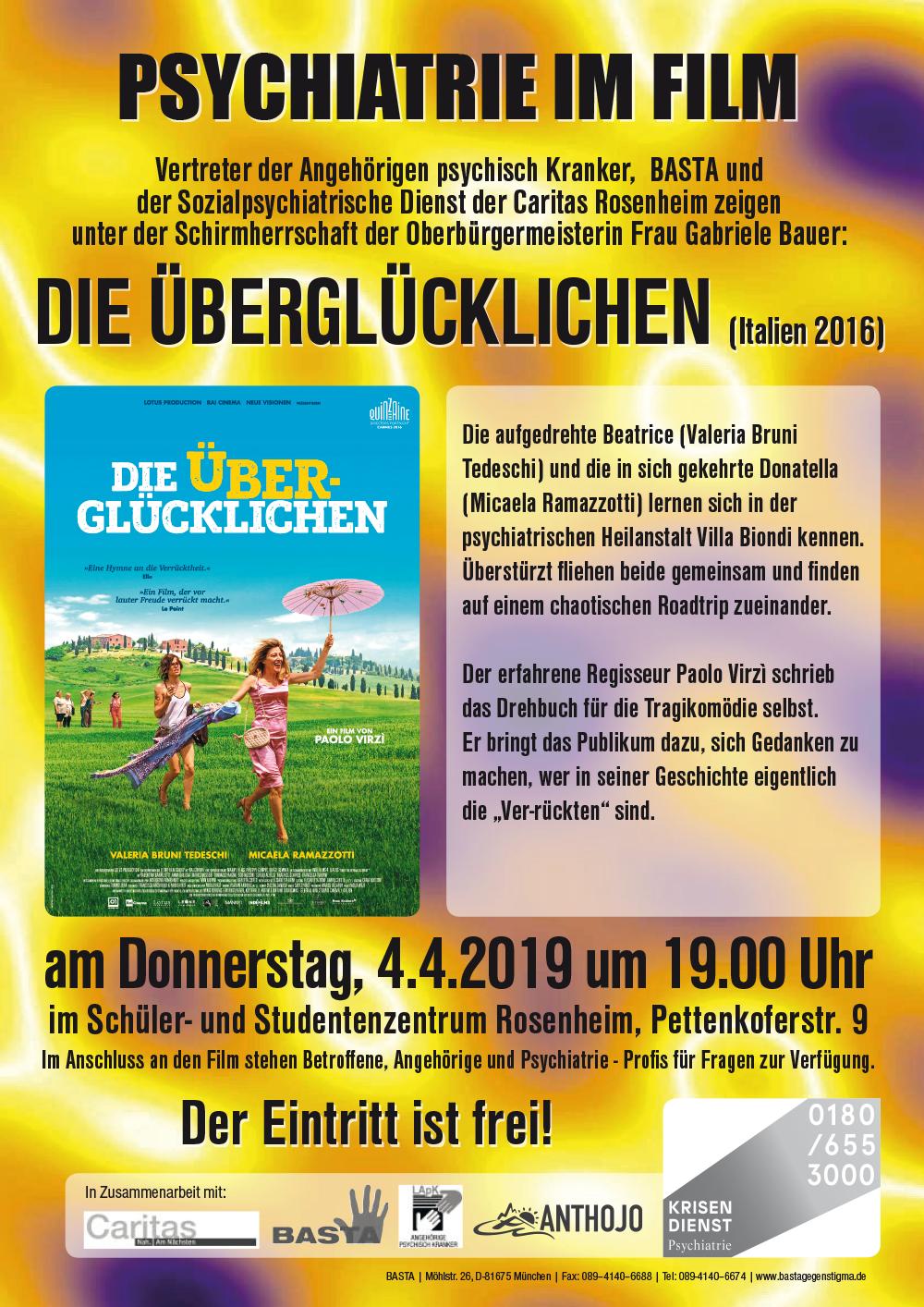 """Plakat fü die BASTA-Filmvorführung """"Die Überglücklichen"""" in Rosemnheim am 4.4. 20198"""