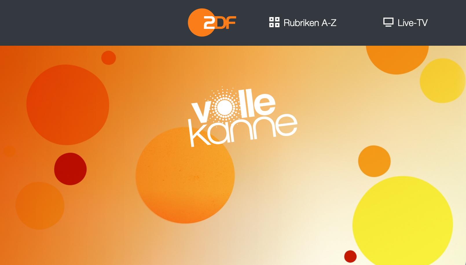 """Logo der ZDF-Sendung """"Volle Kanne"""" aus der ZDF-Homepage"""
