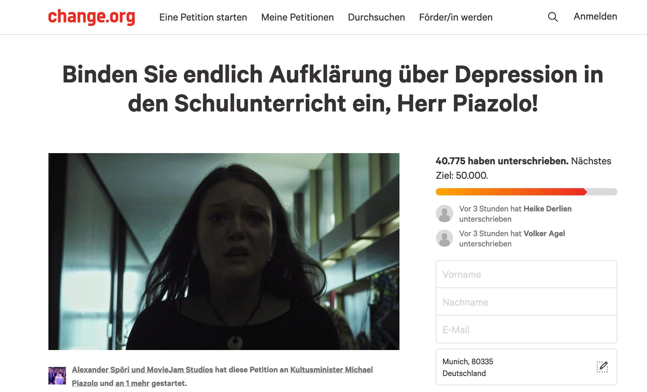 Screenshot der Petition auf der Webseite change.org