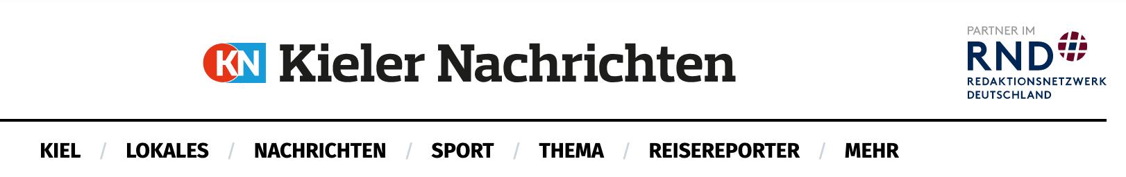 Screenshot des Headers der Webseite der Kieler Nachrichten