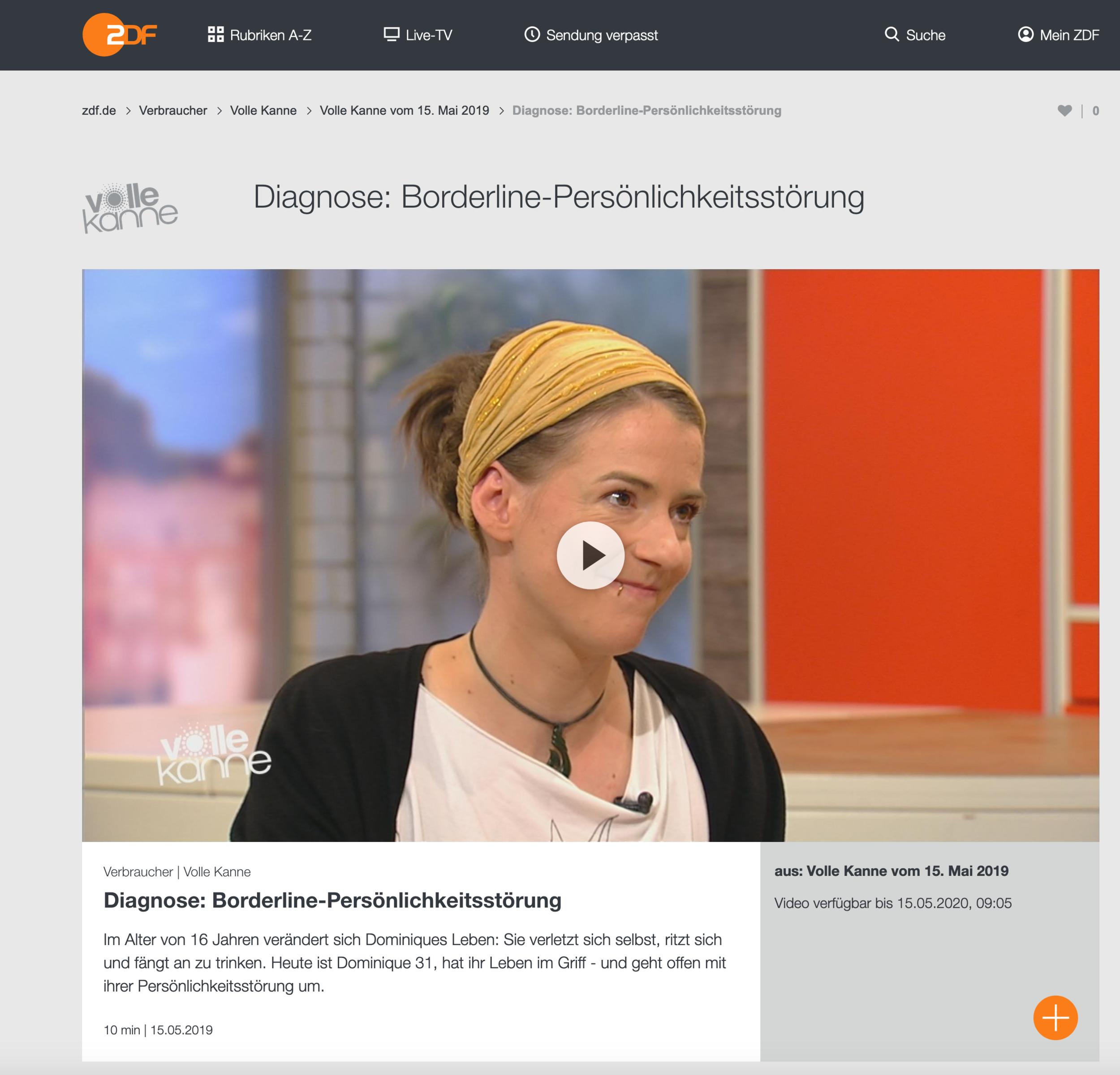 Screenshot aus der ZDF-Mediathek zur Sendung Volle-Kanne am 15.5.2019 mit Dominique de Marné