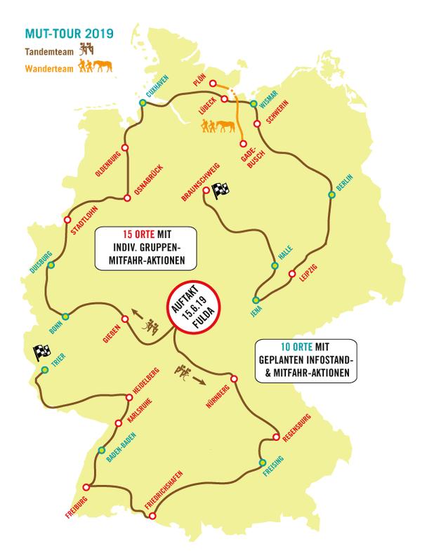 Screenshot der Karte zur Mut_Tour 2019 auf der Seite mut-tour.de