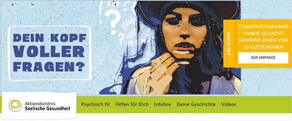 """Screenshot der Kampangenseite """"Dein Kopf voller Fragen"""" auf www.deinkopfvollerfragen.de"""