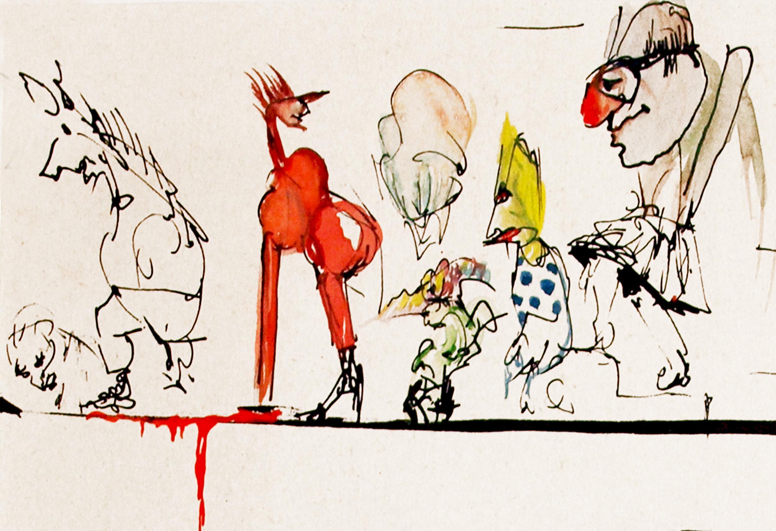 """Zeichnung zum Thema """"Anders sein"""" von Peter Bechmann (Nicht im zitierten SZ-Artikel abgebildet)"""