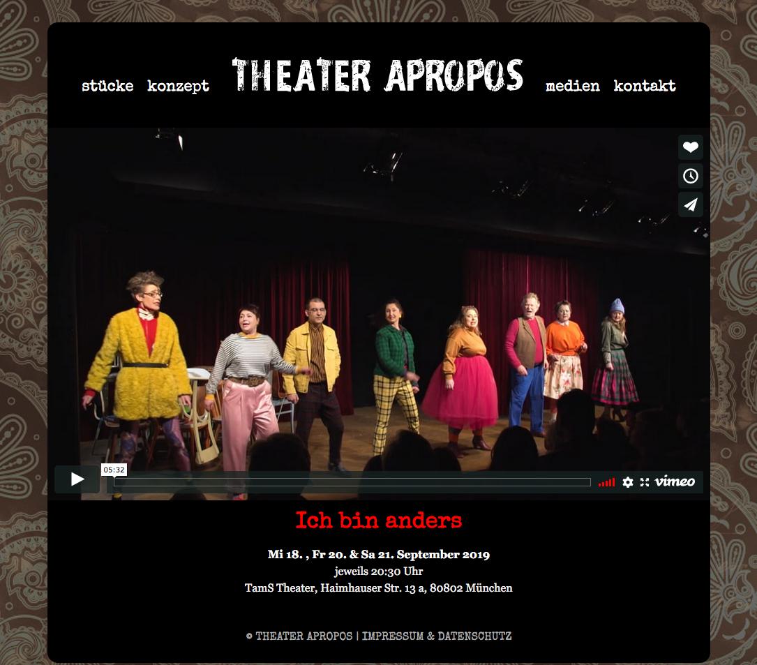 """Screenshot: Das Theaterstück """"Ich bin anders"""" auf der Homepage des Theater Apropos www.theater-apropos.de"""